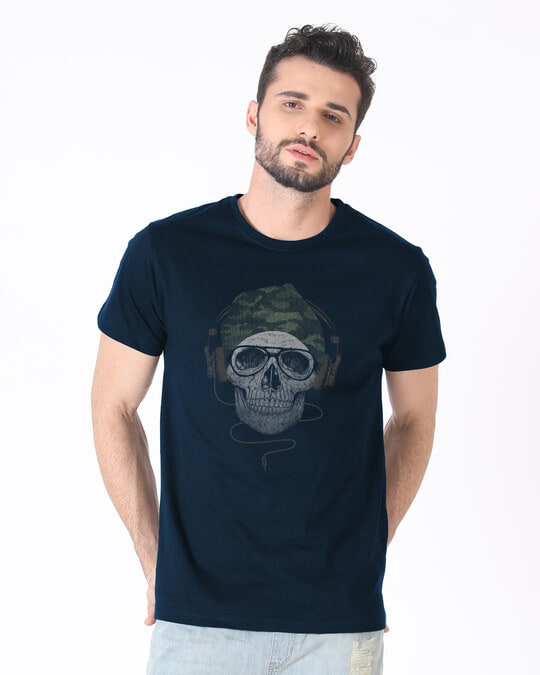 Shop Camo Beanie Half Sleeve T-Shirt-Back