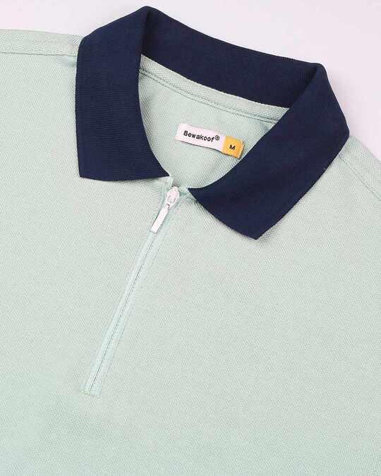 Shop Camo Green Half Sleeve Contrast Zipper Polo