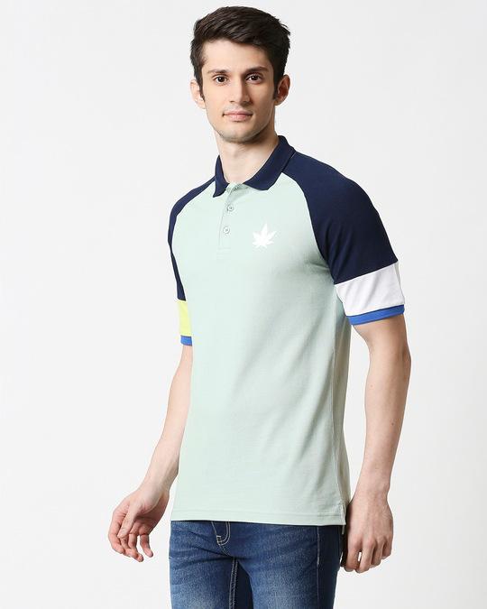 Shop Camo Green Half Sleeve Raglan Shoulder Cut & Sew Polo-Design