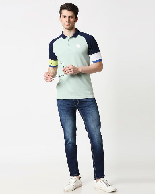 Shop Camo Green Half Sleeve Raglan Shoulder Cut & Sew Polo