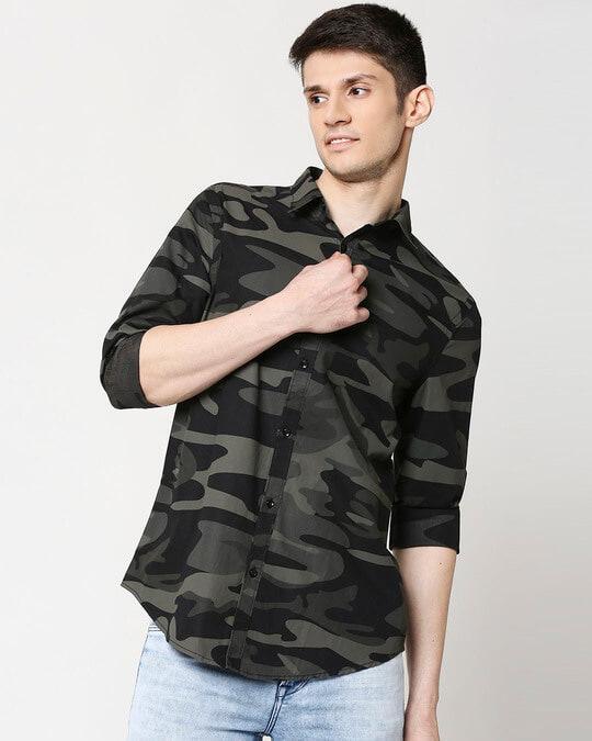 Shop Camo Print AOP Shirt-Front