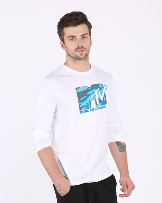 Shop Camouflage Mtv Logo Full Sleeve T-Shirt (MTL)-Back
