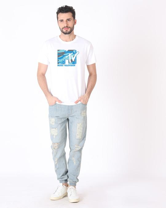 Shop Camouflage Mtv Logo Half Sleeve T-Shirt (MTL)