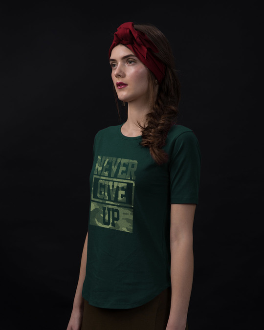 Shop Camouflage Never Give Up Basic Round Hem T-Shirt-Back