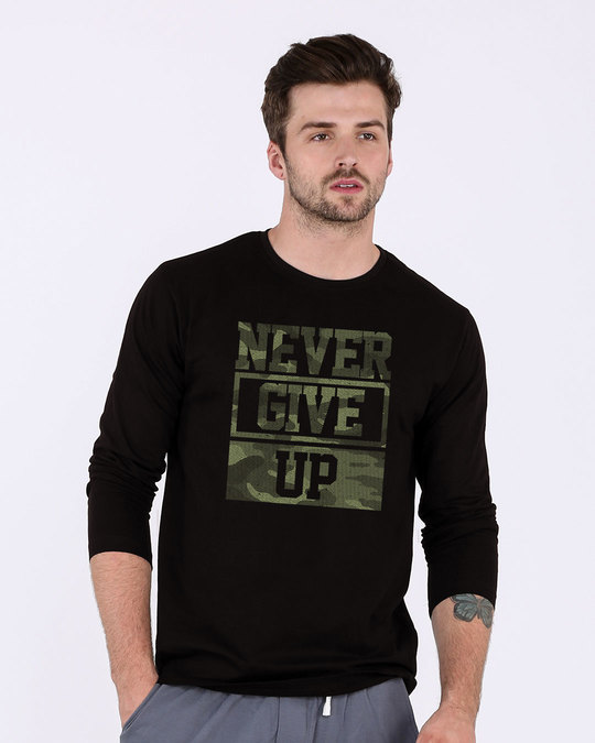 Shop Camouflage Never Give Up Full Sleeve T-Shirt-Front
