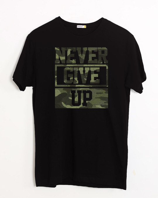 Shop Camouflage Never Give Up Half Sleeve T-Shirt-Front