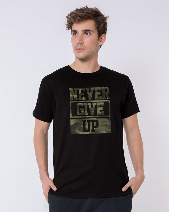Shop Camouflage Never Give Up Half Sleeve T-Shirt-Back