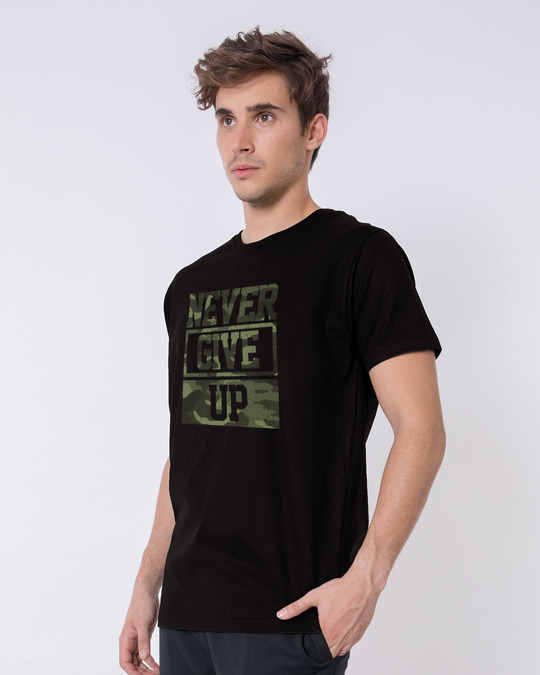 Shop Camouflage Never Give Up Half Sleeve T-Shirt-Design