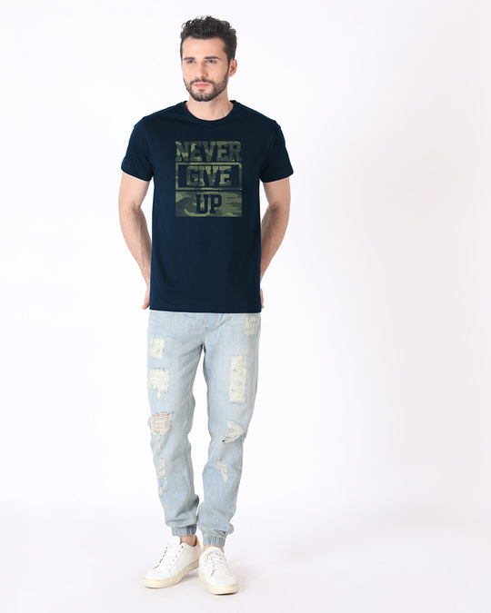 Shop Camouflage Never Give Up Half Sleeve T-Shirt