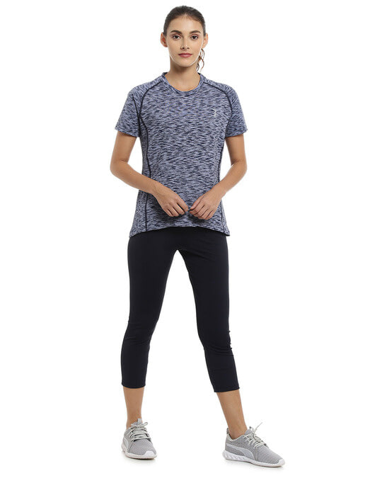 Shop Abstract Women Round Neck Purple Sports Dry Fit T Shirt-Full