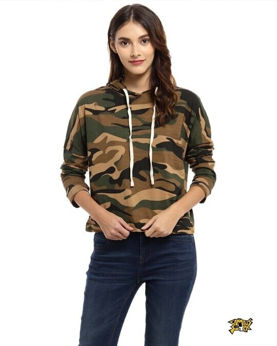 Shop Casual Full Sleeve Women Camouflage Green Beige Top-Front