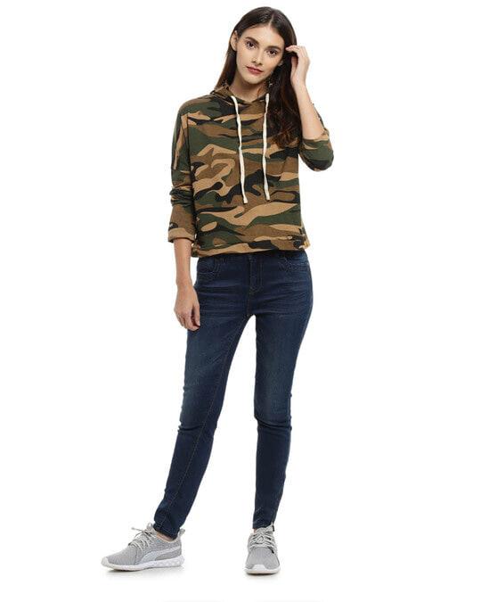 Shop Casual Full Sleeve Women Camouflage Green Beige Top-Full