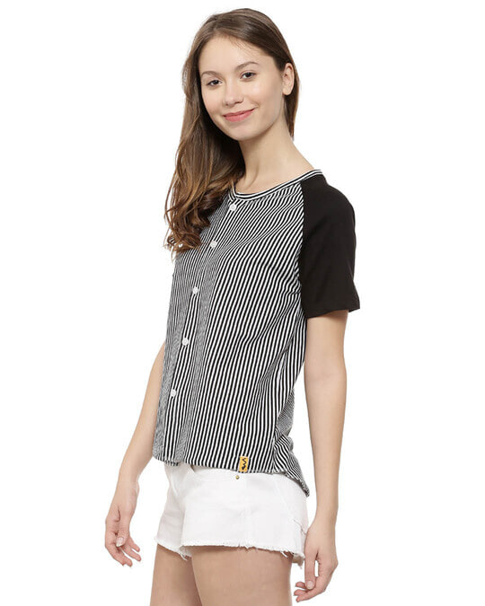 Shop Casual Short Sleeve Striped Women's Black Top-Back