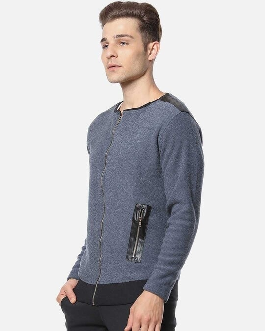 Shop Campus Sutra Full Sleeve Solid Men Casual Zipper Jacket-Back