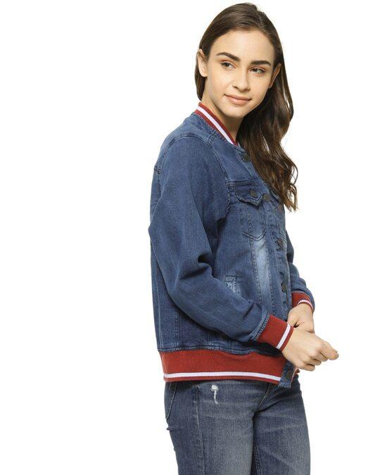 Shop Full Sleeve Women Solid Casual Denim Jacketaw21 Jkdenim03 W Pln Burd-Back