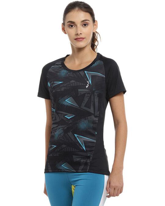 Shop Graphic Print Women Round Neck Black Sports Dry Fit T Shirt-Back