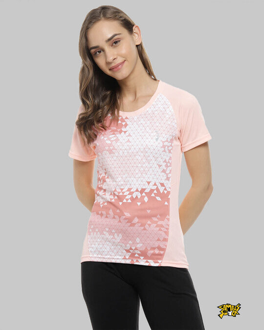 Shop Graphic Print Women Round Neck Peach Sports Jersey T Shirt-Front