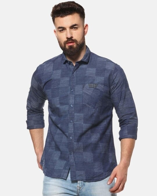 Shop Campus Sutra Men Casual Checkered Shirt-Front
