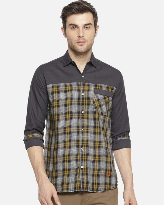Shop Campus Sutra Men Checkered Casual Shirt-Front