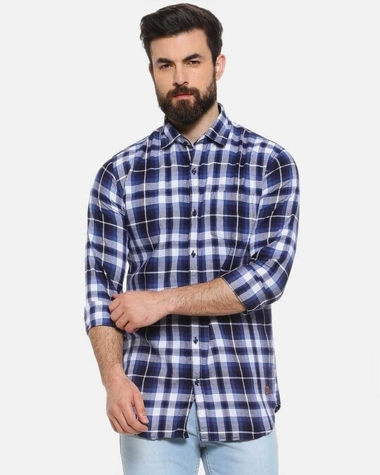 Shop Men Checkered Casual Stylish Spread Shirt-Front