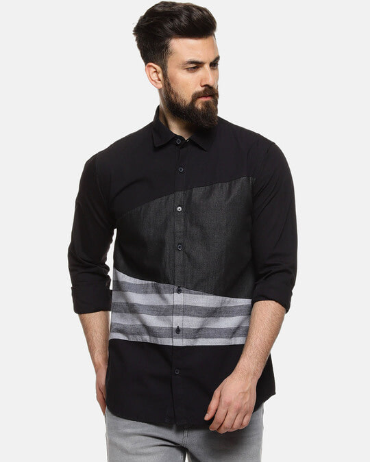 Shop Men Striped Casual Spread Shirt-Front