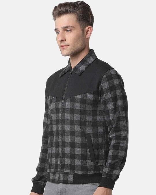 Shop Campus Sutra Men Checks Stylish Casual Jacket-Back