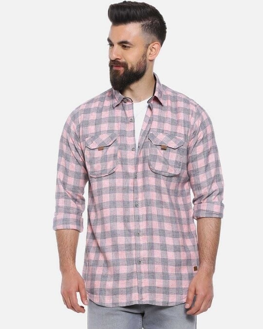 Shop Men Checks Stylish New Trends Spread Casual Shirt-Front