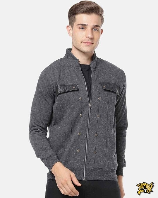 Shop Campus Sutra Men Full Sleeve Solid Stylish Jacket-Front