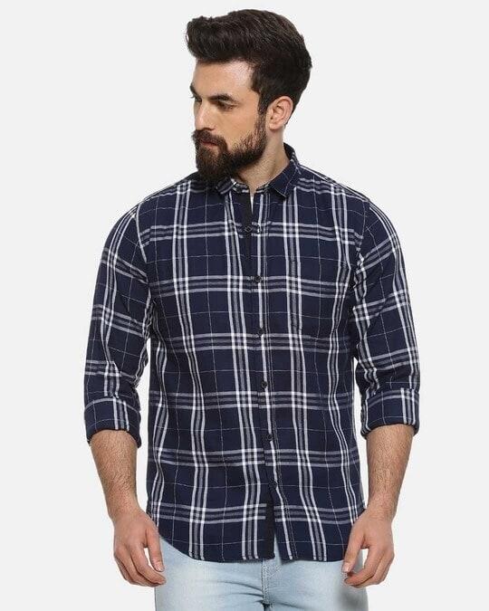Shop Men Full Sleeve Spread Collar Checks Stylish Casual Shirts-Front
