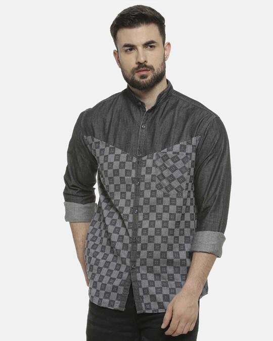 Shop Men Mandarin Collar Shirt-Front