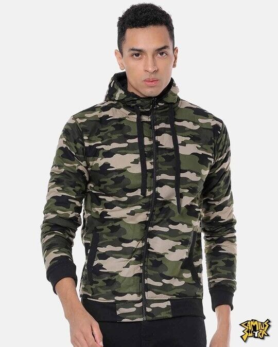 Shop Campus Sutra Men Camouflage Stylish Casual Jacket-Front