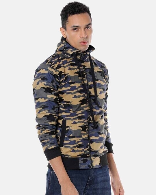 Shop Campus Sutra Men Camouflage Stylish Casual Jacket-Back