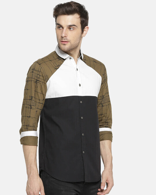 Shop Campus Sutra Men's Patch Sleeve Casual Shirt-Back