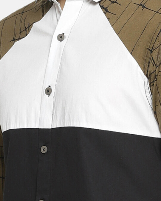 Shop Campus Sutra Men's Patch Sleeve Casual Shirt