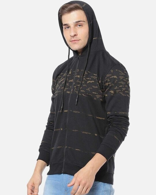 Shop Campus Sutra Men Stylish Camouflage Casual Hooded Sweatshirt-Back