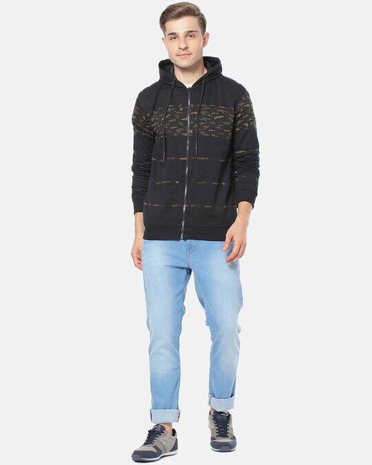Shop Campus Sutra Men Stylish Camouflage Casual Hooded Sweatshirt-Full