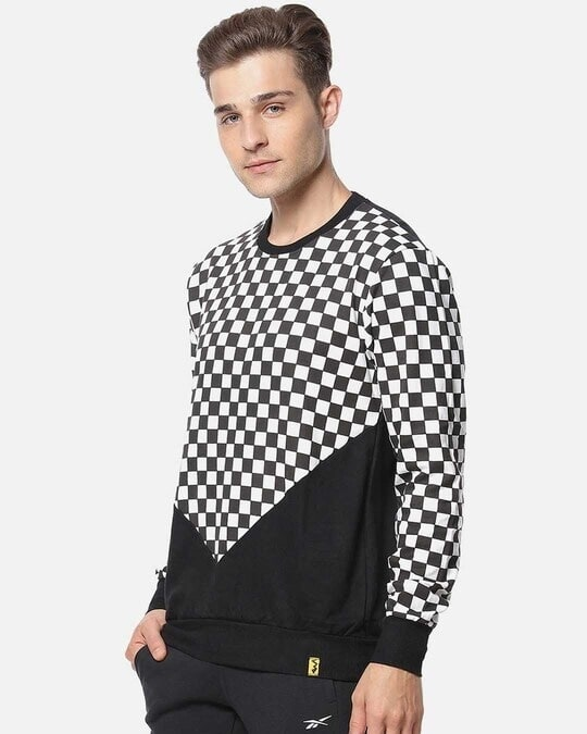 Shop Campus Sutra Full Sleeve Checks Men Stylish Casual Sweatshirt-Back