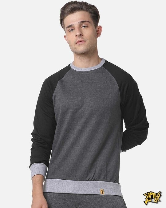 Shop Campus Sutra Full Sleeve Solid Men Casual Sweatshirt-Front
