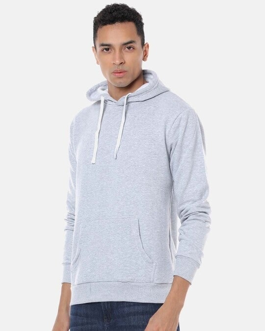 Shop Campus Sutra Men Stylish Solid Casual Hooded Sweatshirt-Back
