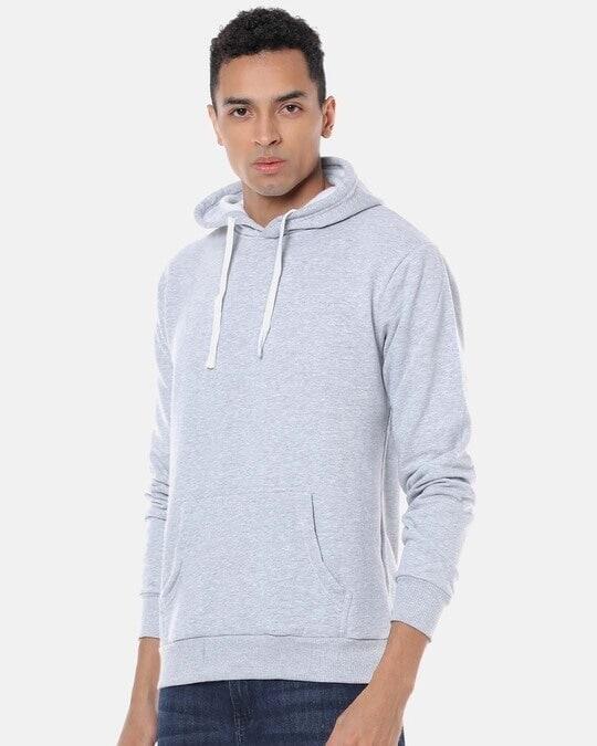 Shop Men Stylish Solid Casual Hooded Sweatshirt-Back