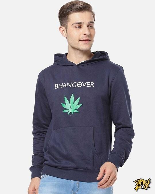 Shop Men Stylish Solid Casual Hooded Sweatshirt-Front