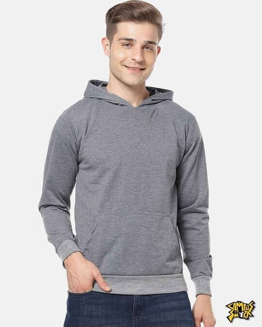 Shop Men Stylish Solid Casual Hooded Sweatshirt-Front