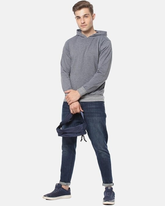 Shop Men Stylish Solid Casual Hooded Sweatshirt-Full