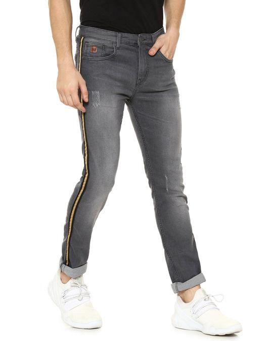 Shop Men Side Striped Slim Fit Casual Denim Jeans-Back