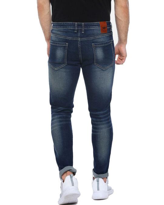 Shop Men Slim Fit Solid Front Applique Stretch Stylish New Trends Blue Denim Jeans-Design