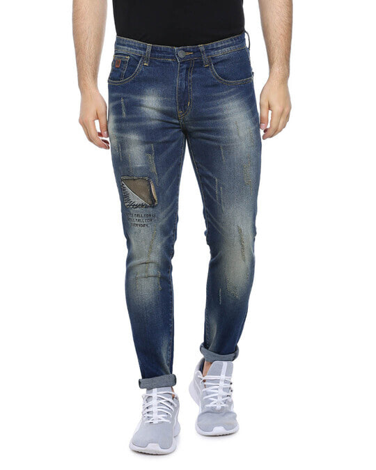 Shop Men Slim Fit Solid Front Patch Stretch Stylish New Trends Blue Denim Jeans-Front