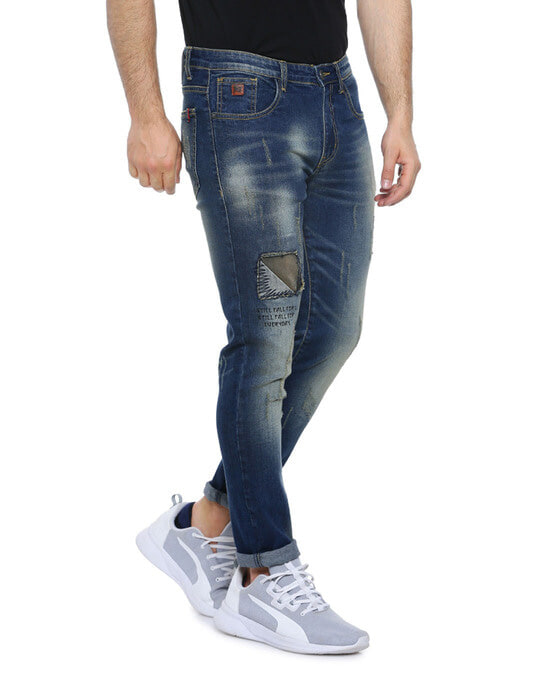 Shop Men Slim Fit Solid Front Patch Stretch Stylish New Trends Blue Denim Jeans-Back