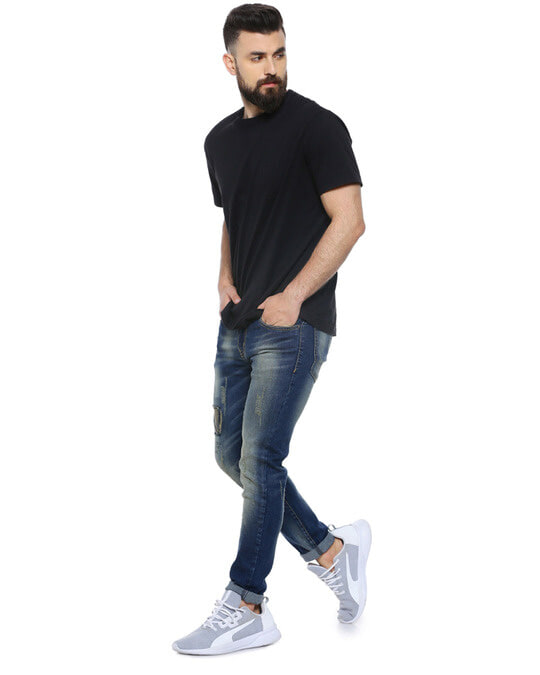 Shop Men Slim Fit Solid Front Patch Stretch Stylish New Trends Blue Denim Jeans-Full