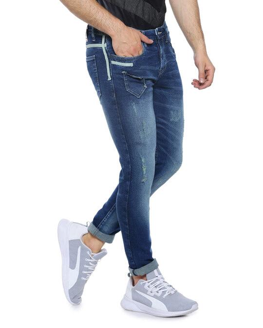 Shop Men Slim Fit Solid Stretch Stylish New Trends Blue Denim Jeans-Back