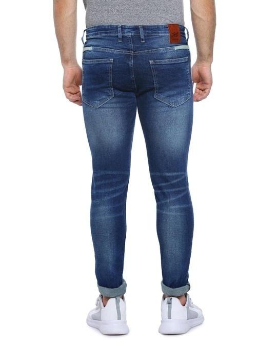 Shop Men Slim Fit Solid Stretch Stylish New Trends Blue Denim Jeans-Design
